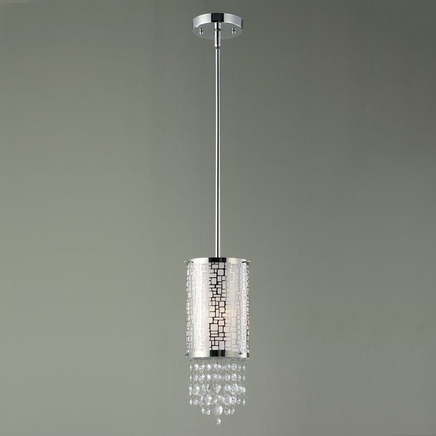 Canarm Benito 4.25-in Chrome Mini Crystal Cylinder Pendant