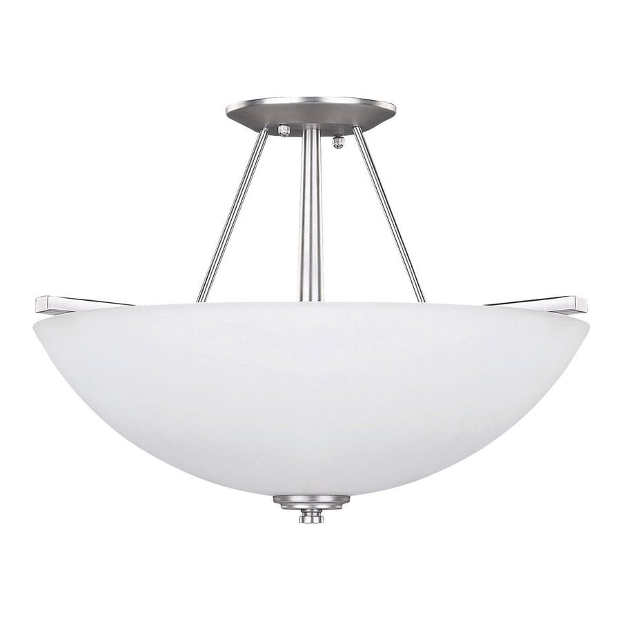 Canarm New Yorker 15-in W Brushed Pewter Opalescent Glass Semi-Flush Mount Light