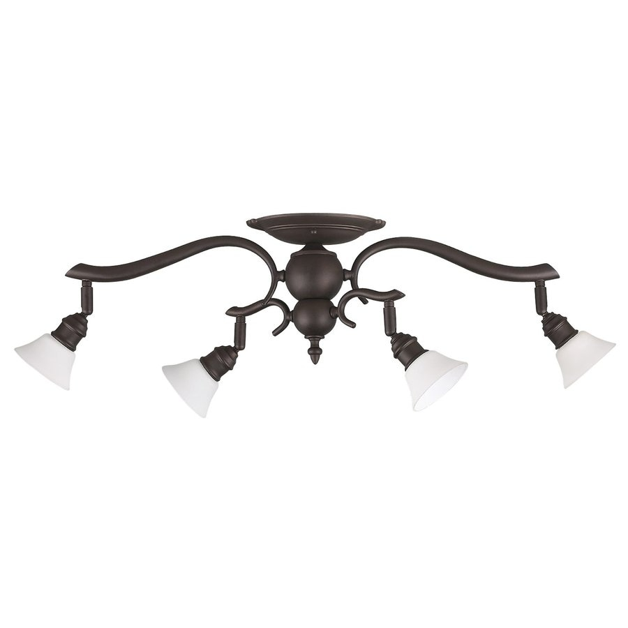 Canarm Addison 4-Light 26.5-in Oil-Rubbed Bronze Flexible Track Light with Flat White Opal Glass