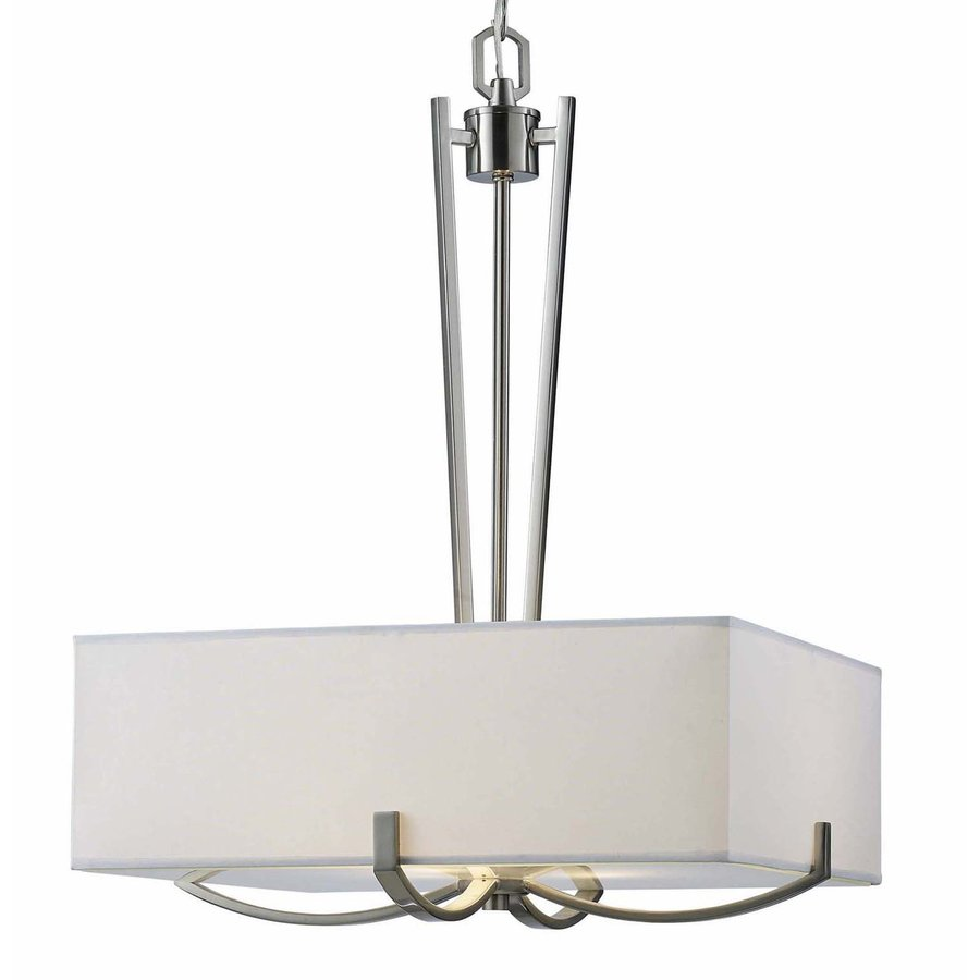 Canarm Palmer 18-in Brushed Nickel Single Rectangle Pendant