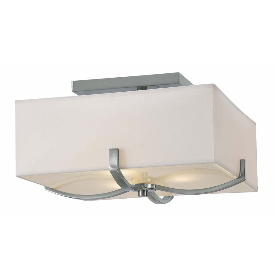 Canarm Palmer 15-in W Brushed Nickel Fabric Semi-Flush Mount Light