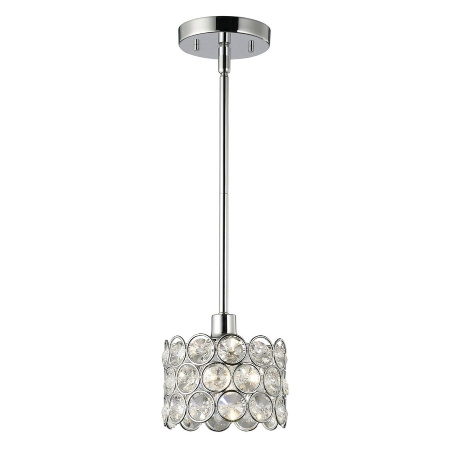 Crystal mini pendant lighting for kitchen : Canarm alice in chrome mini crystal drum pendant at