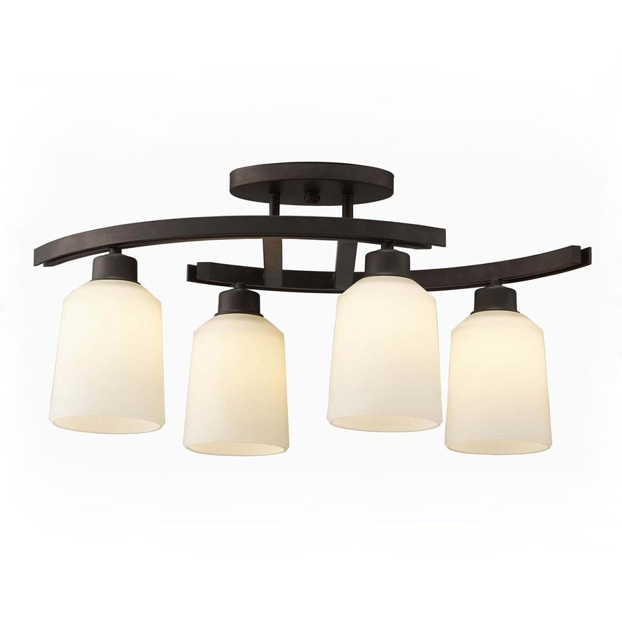 Lowes Kitchen Wall Lights : Shop Canarm Quincy 4.75-in W 4-Light Oil Rubbed Bronze Kitchen Island Light with Frosted Shade ...