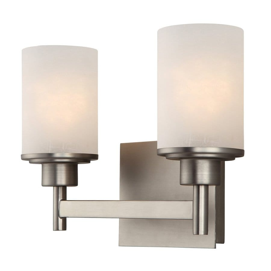 2 Light Vanity Light Brushed Nickel : Shop Canarm 2-Light Lyndi Brushed Nickel Bathroom Vanity Light at Lowes.com