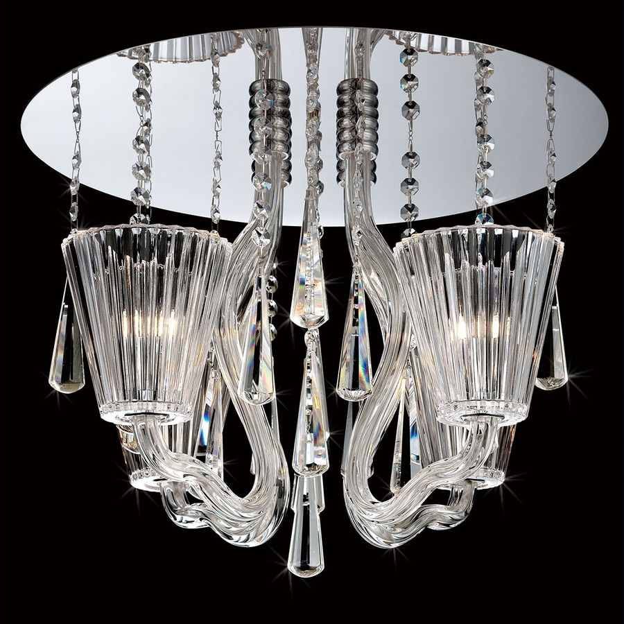 Eurofase Corato 17.75-in W Chrome Crystal Semi-Flush Mount Light