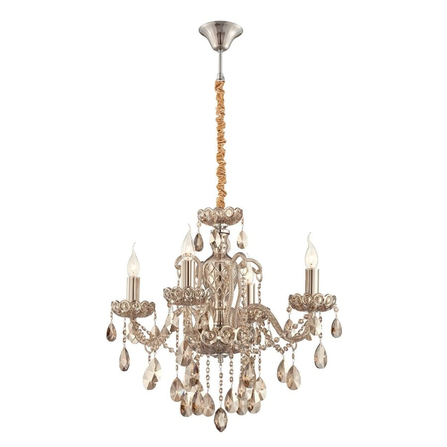 Eurofase Providence 24.25-in 4-Light Cognac Brandy Crystal Candle Chandelier