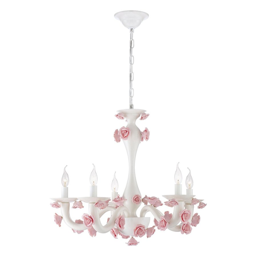 Eurofase Martina 26.75-in 5-Light White Kids Candle Chandelier
