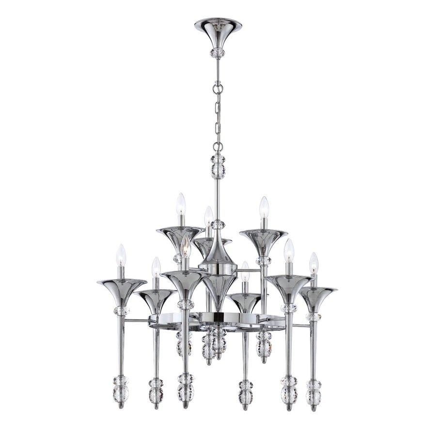 Eurofase Cannello 31-in 9-Light Chrome Tiered Chandelier