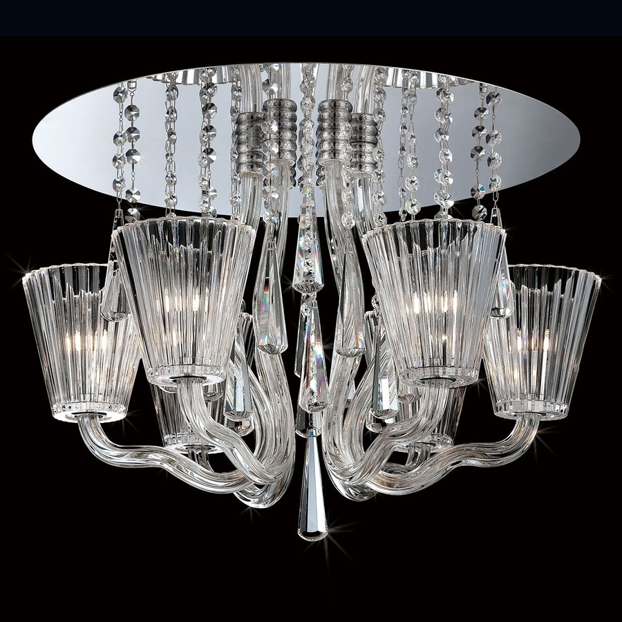 Eurofase Corato 21.25-in W Chrome Crystal Ceiling Flush Mount Light
