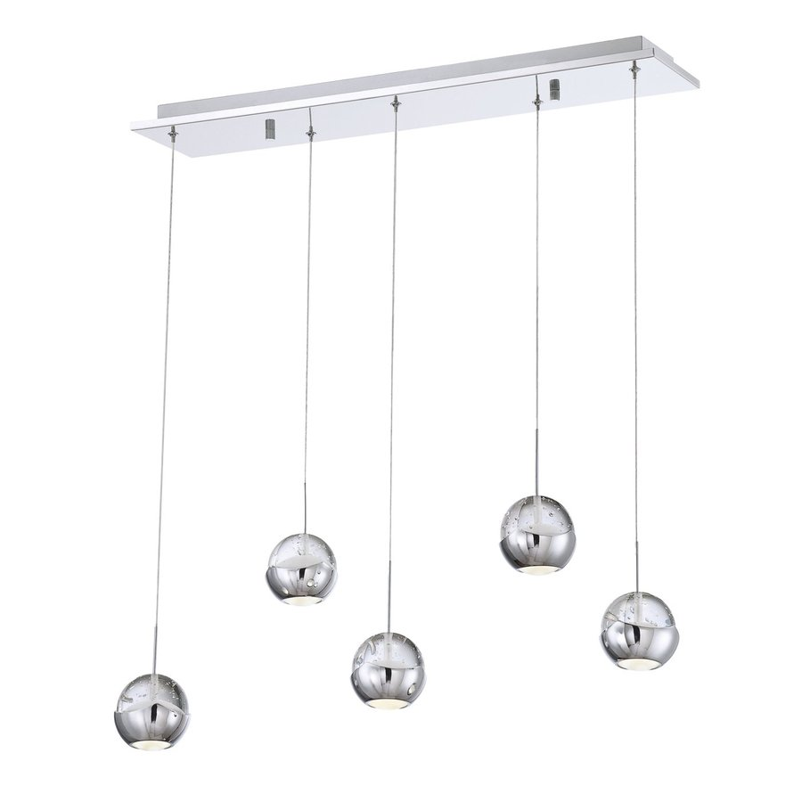 Eurofase Ice 6.75-in W 5-Light Chrome LED Kitchen Island Light with Clear Shades