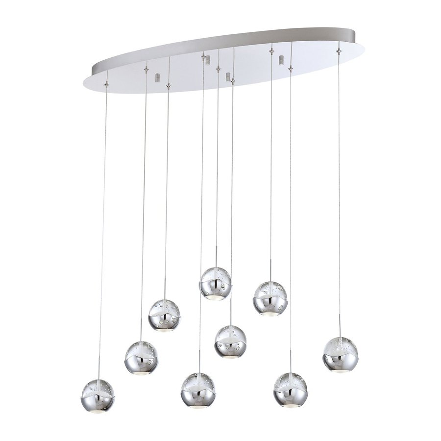 Eurofase Ice 11.5-in W 9-Light Chrome LED Kitchen Island Light with Clear Shades