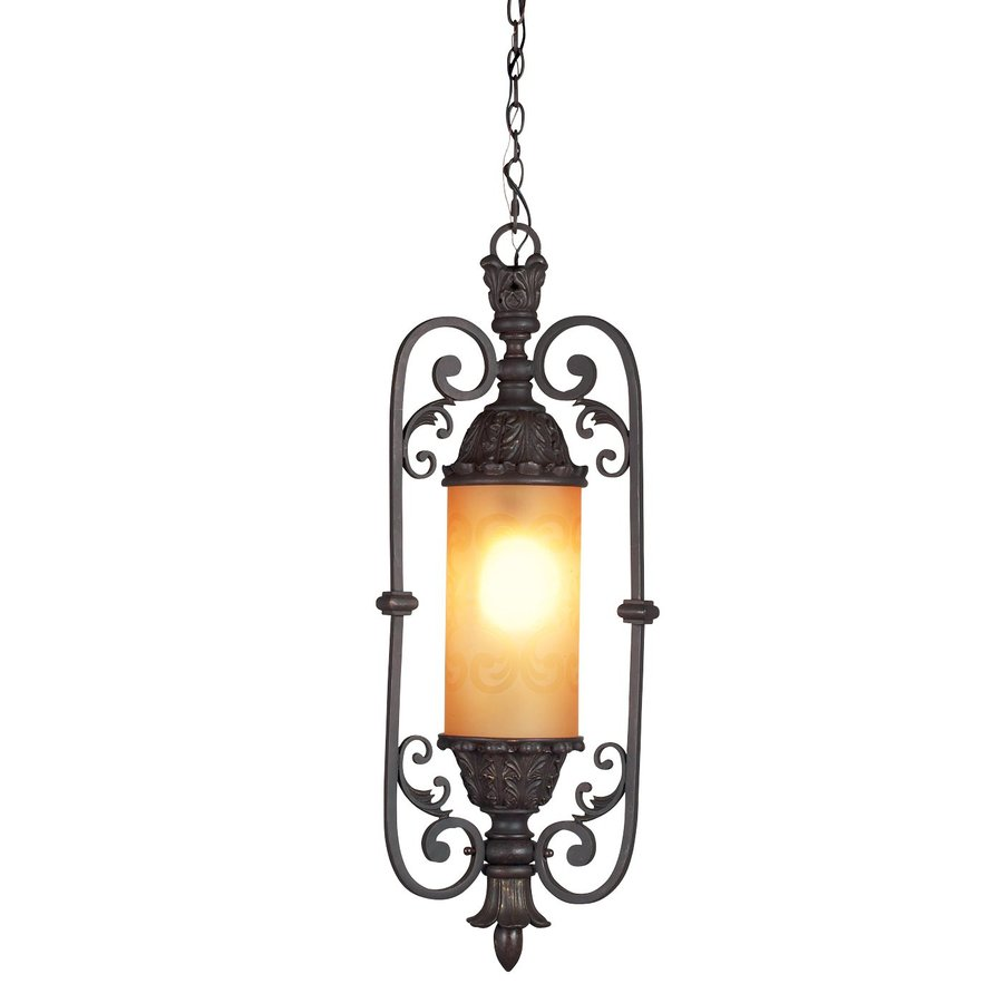 Eurofase Glenhaven 12-in Antique Rust Mediterranean Tinted Glass Lantern Pendant