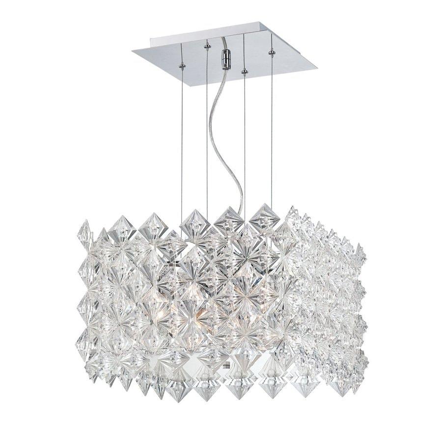 Eurofase Cristallo 15.75-in Chrome Crystal Textured Glass Square Pendant