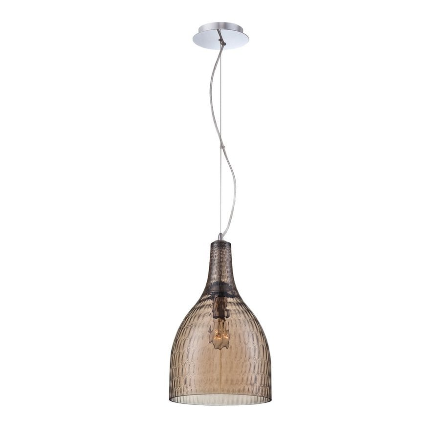 Eurofase Altima 10-in Chrome Industrial Textured Glass Bell Pendant