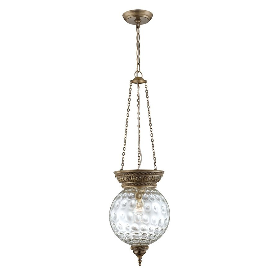 Eurofase Nella 9.5-in Antique Brass Vintage Mini Textured Glass Urn Pendant