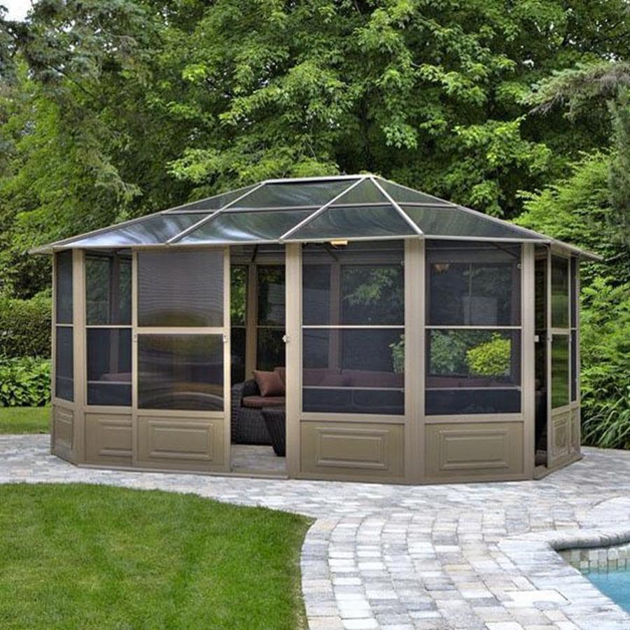 Shop gazebo penguin brown aluminum octagon screened gazebo for Screened front entry