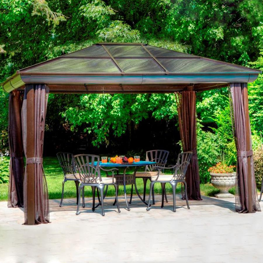 Shop gazebo penguin brown aluminum square screened gazebo exterior x at for Pergola aluminium x