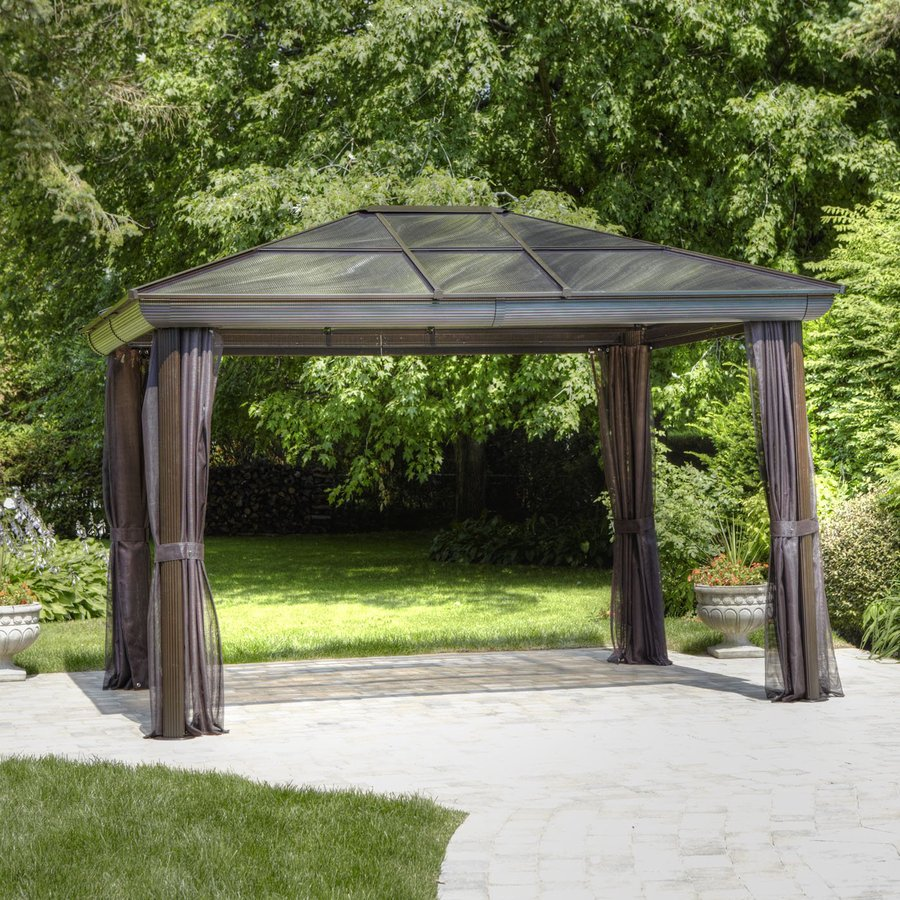 Shop gazebo penguin brown aluminum rectangle screened for Pergola aluminum x