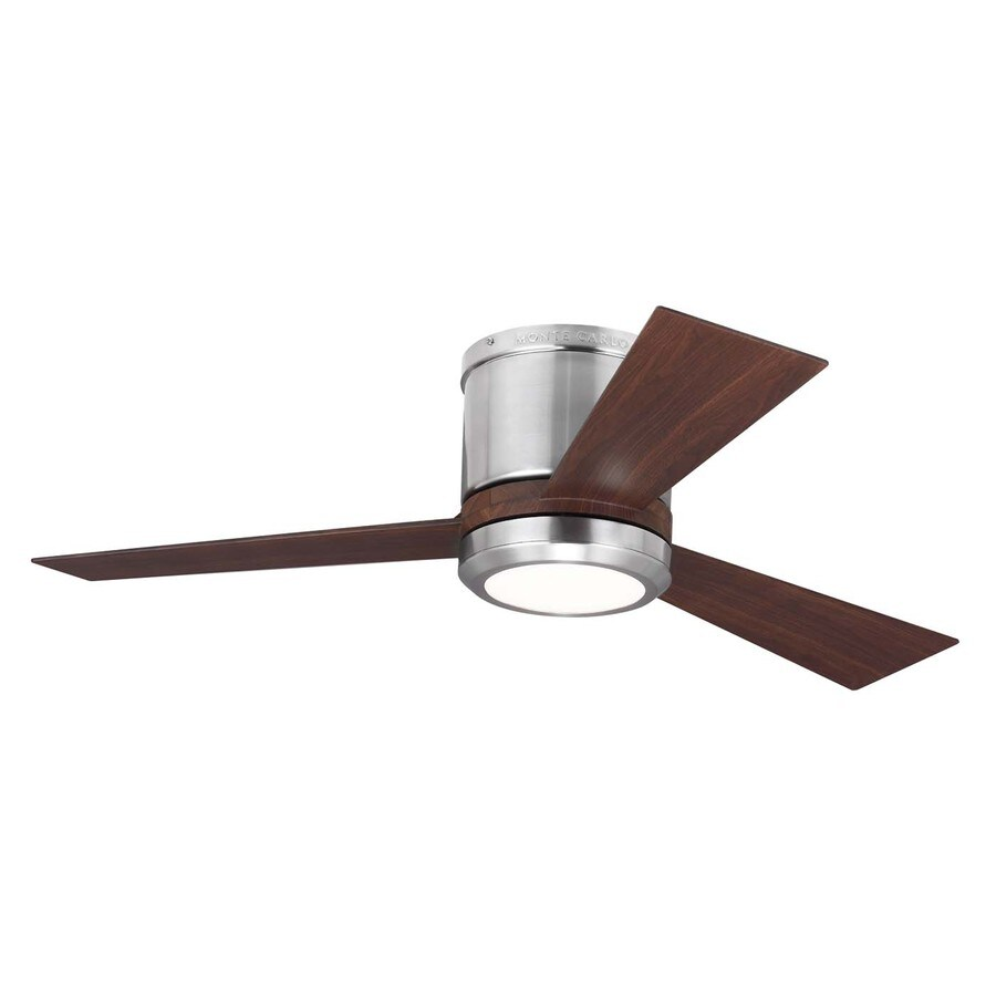 Monte Carlo Fan Company Clarity 42-in Brushed Steel Flush Mount Indoor Ceiling Fan with LED Light Kit and Remote Control Included (3-Blade)