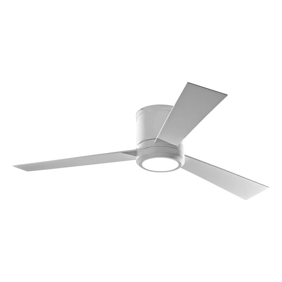 Shop Monte Carlo Fan Company Clarity 52 In Rubberized White Flush Mount Indoor Ceiling Fan With