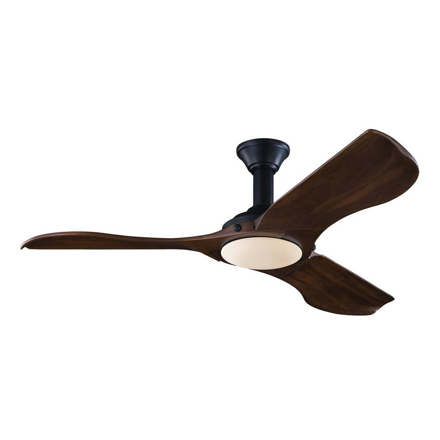 Monte Carlo Fan Company Minimalist 56-in Matte Black Downrod Mount Indoor Ceiling Fan with LED Light Kit and Remote Control Included (3-Blade)