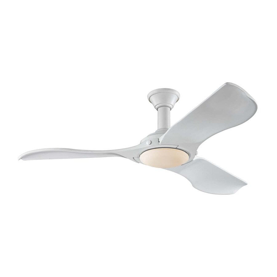 Monte Carlo Fan Company Minimalist 56-in Rubberized White Downrod Mount Indoor Ceiling Fan with LED Light Kit and Remote Control Included (3-Blade)