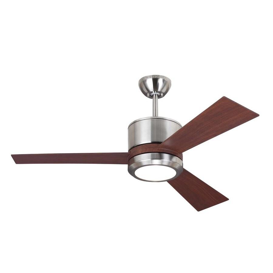 Shop monte carlo fan company vision ii 42 in brushed steel for Ceiling fan companies