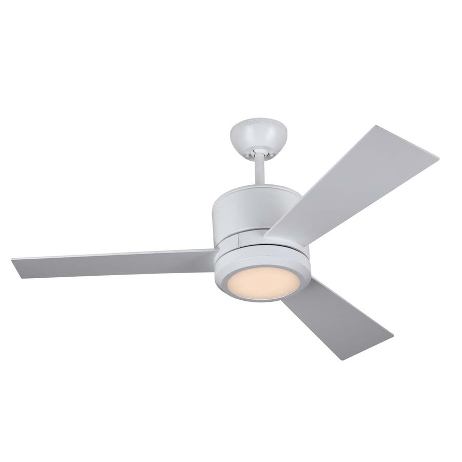 Monte Carlo Fan Company Vision Ii 42-in Rubberized White Downrod Mount Indoor Ceiling Fan with LED Light Kit and Remote Control Included (3-Blade)