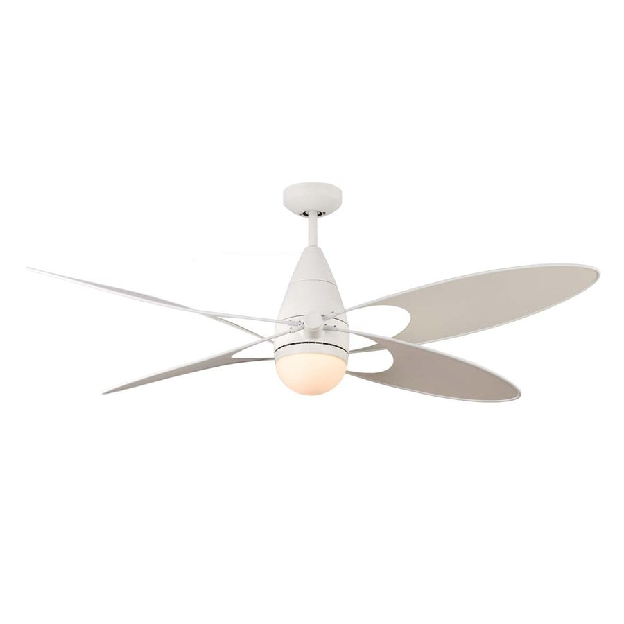 Monte Carlo Fan Company Butterfly 54-in Rubberized White Downrod Mount Indoor/Outdoor Ceiling Fan Included Remote Control Included (4-Blade)