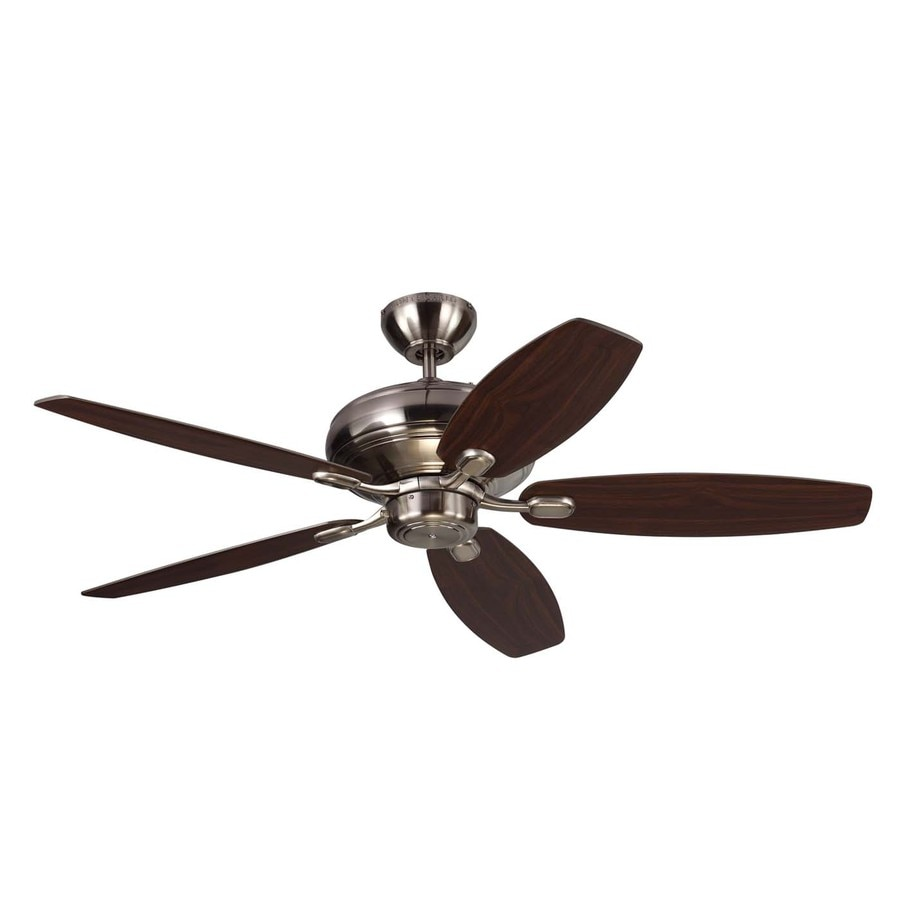 Monte Carlo Fan Company Centro Max 52-in Brushed Steel Downrod or Close Mount Indoor Ceiling Fan (5-Blade) ENERGY STAR