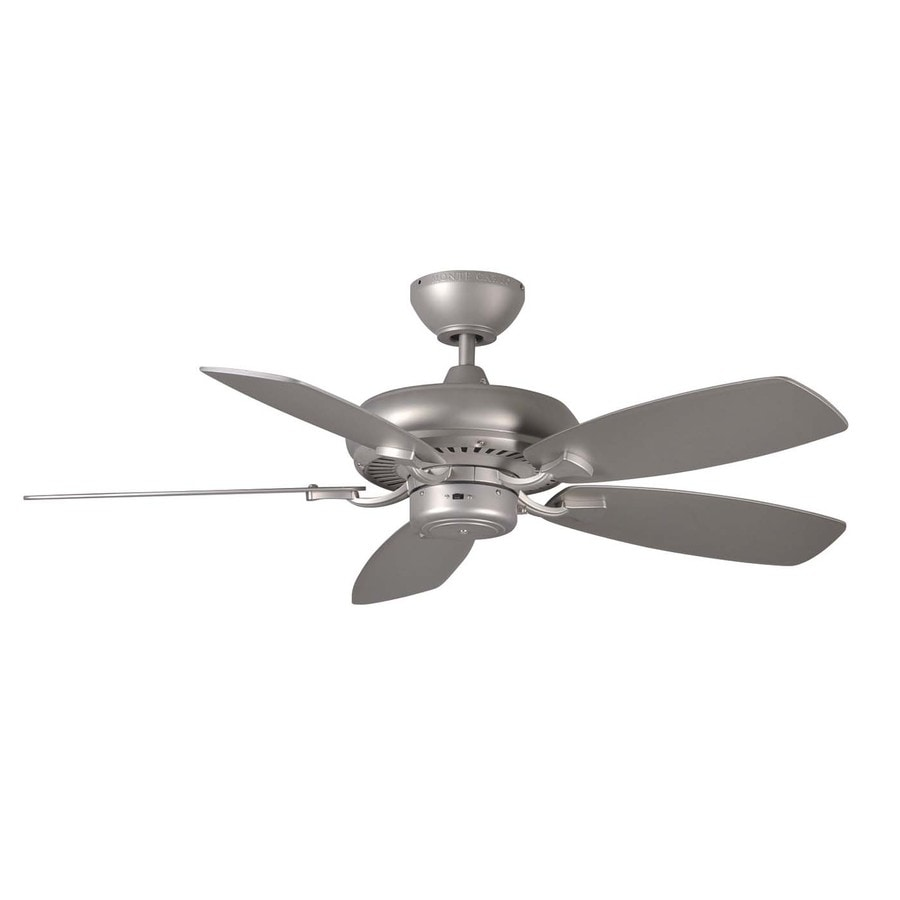 Monte Carlo Fan Company Designer Max Ii 44-in Brushed Pewter Downrod Mount Indoor Ceiling Fan (5-Blade)