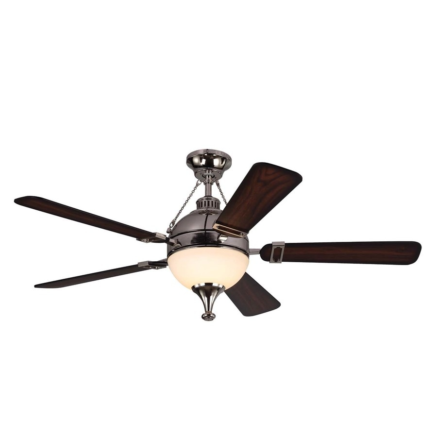 Monte Carlo Fan Company Essex 54-in Polished Nickel Downrod Mount Indoor Ceiling Fan with LED Light Kit and Remote Control Included (5-Blade)