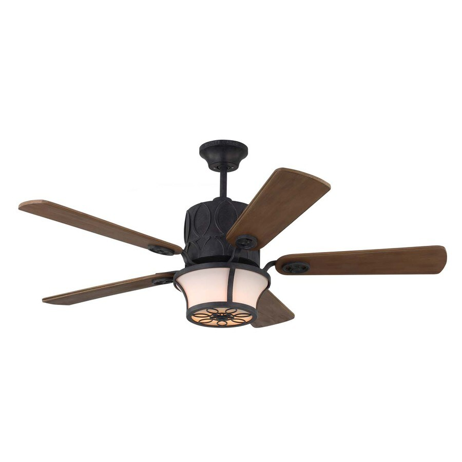Monte Carlo Fan Company Grafton 52-in Antique Forged Iron Downrod Mount Indoor Ceiling Fan Included Remote Control Included (5-Blade)