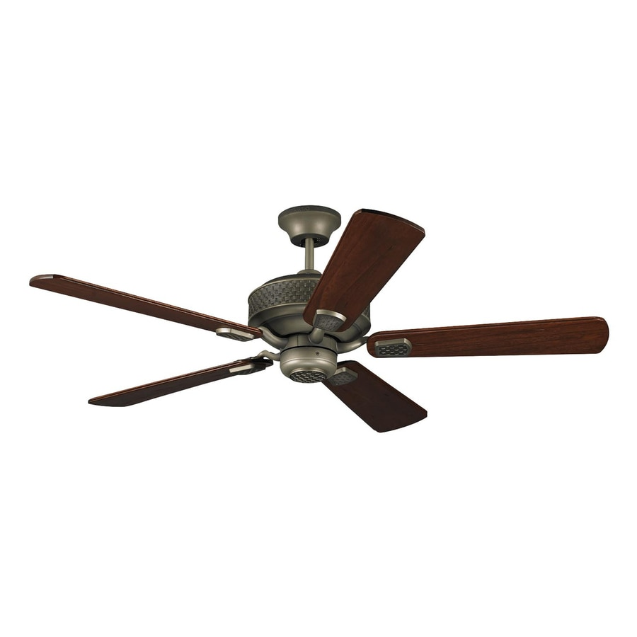 Monte Carlo Fan Company Hillsborough 54-in Aged Pewter Downrod or Close Mount Indoor Ceiling Fan Remote Control Included (5-Blade)