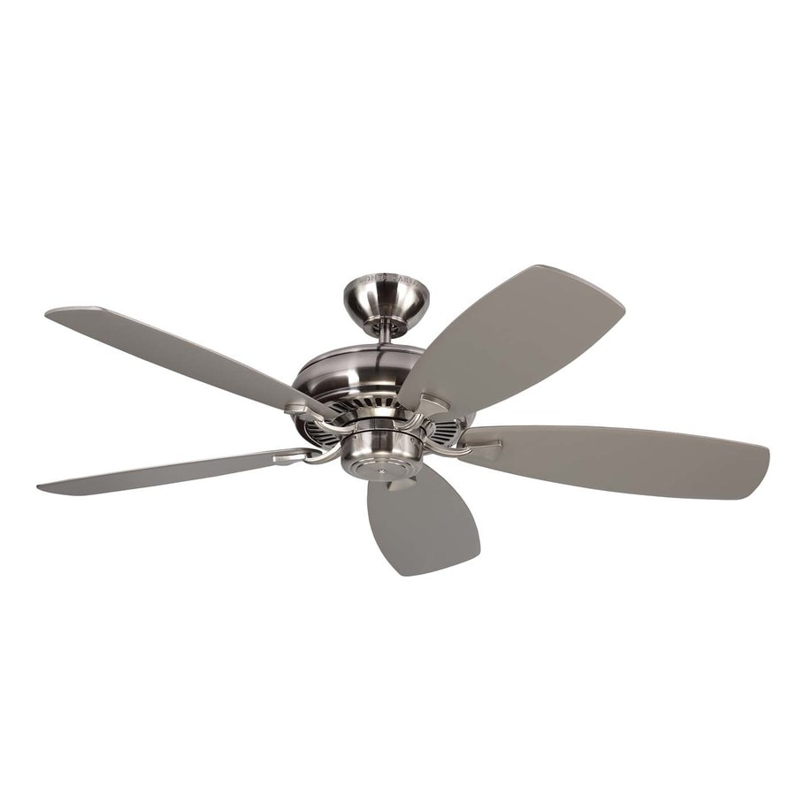 Monte Carlo Fan Company Light Cast Max 52-in Brushed Steel Downrod or Close Mount Indoor Ceiling Fan (5-Blade)