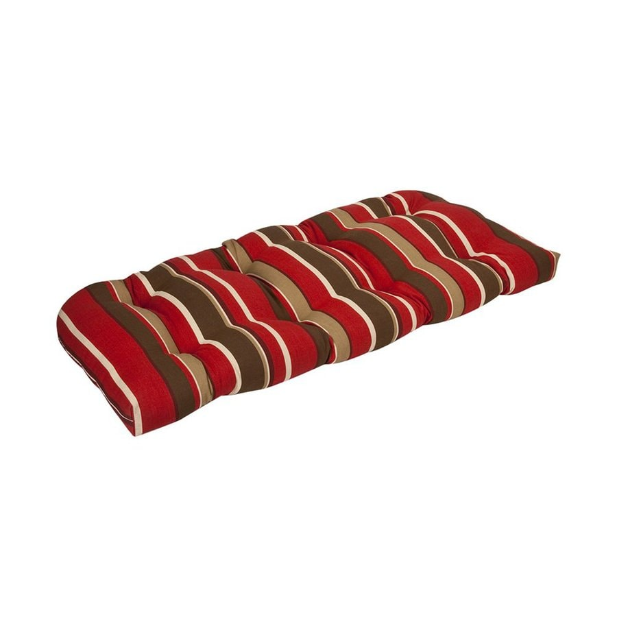 Pillow Perfect Red Brown Striped Seat Pad For Loveseat