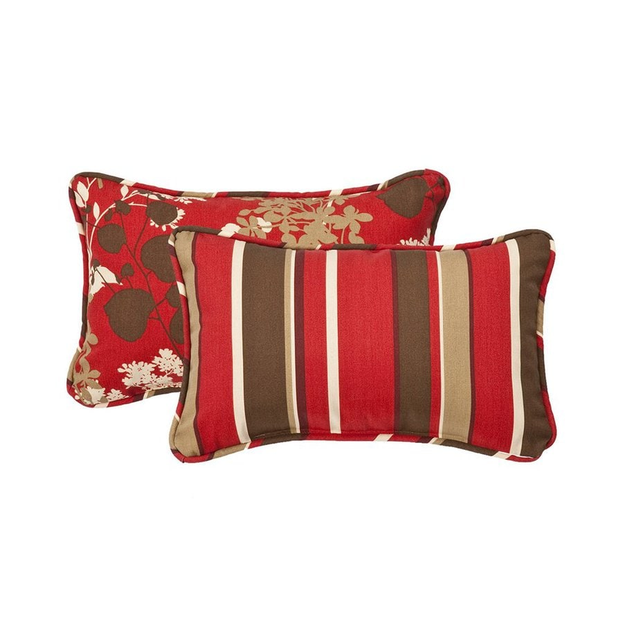 Pillow Perfect Floral/Striped 2-Pack Red Floral Rectangular Outdoor Decorative Pillow