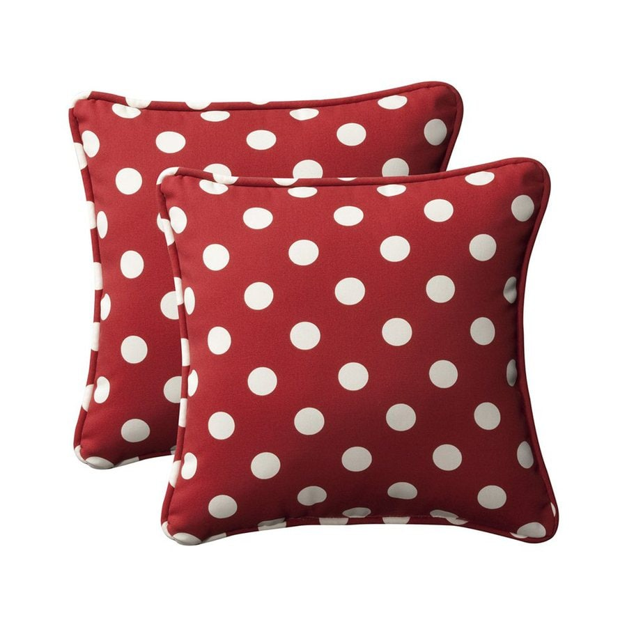 Throw Pillows At Lowes : Shop Pillow Perfect Polka Dot 2-Pack Red Square Outdoor Decorative Pillow at Lowes.com