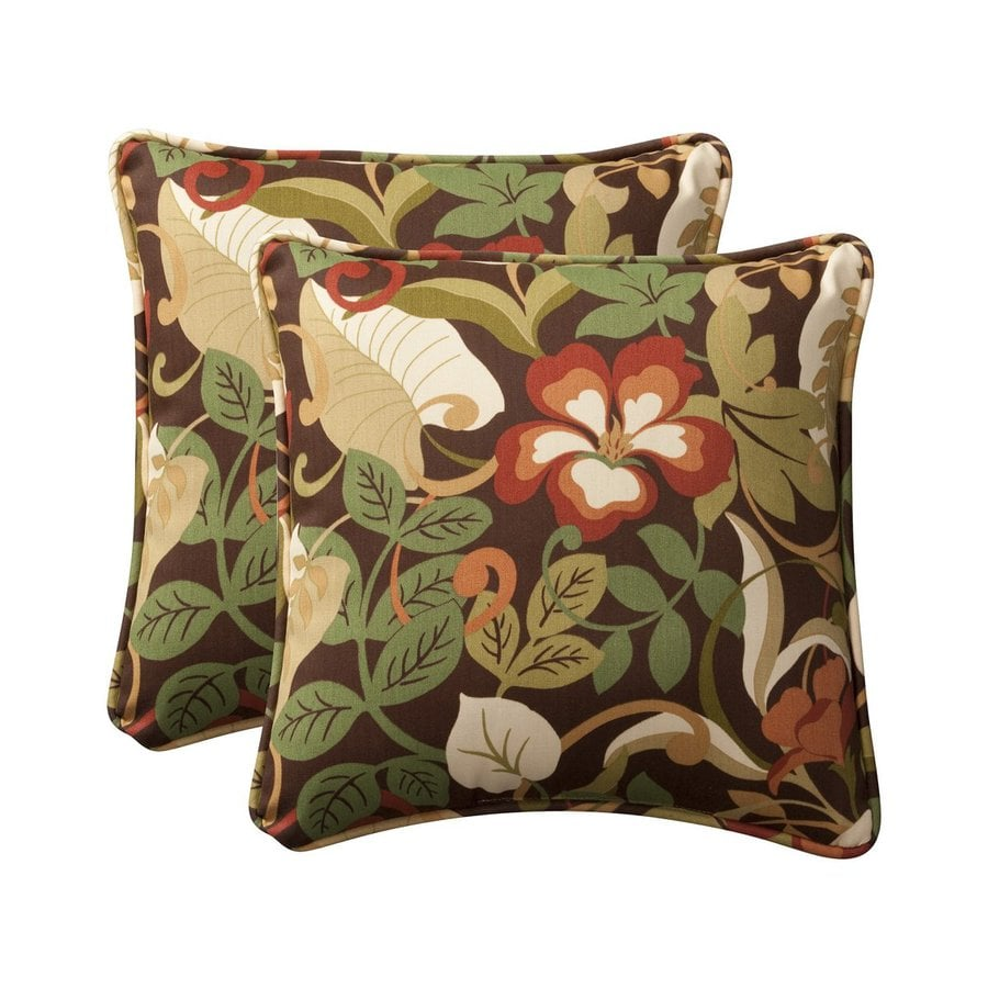 Newport Decorative Two Pack Pillows : Shop Pillow Perfect Tropical 2-Pack Multicolor Floral Square Outdoor Decorative Pillow at Lowes.com