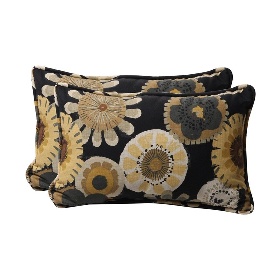 Shop Pillow Perfect Crosby 2-Pack Black Floral Rectangular Outdoor Decorative Pillow at Lowes.com