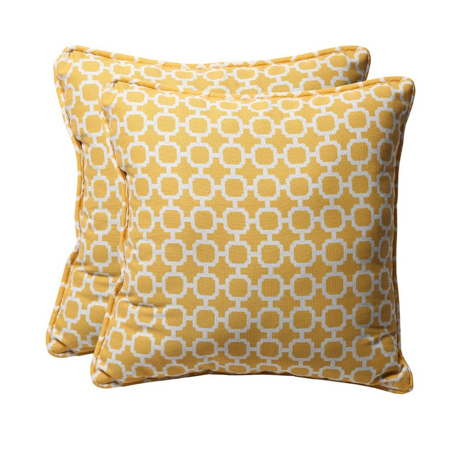 Shop Pillow Perfect Hockley 2-Pack Yellow Geometric Square Outdoor Decorative Pillow at Lowes.com