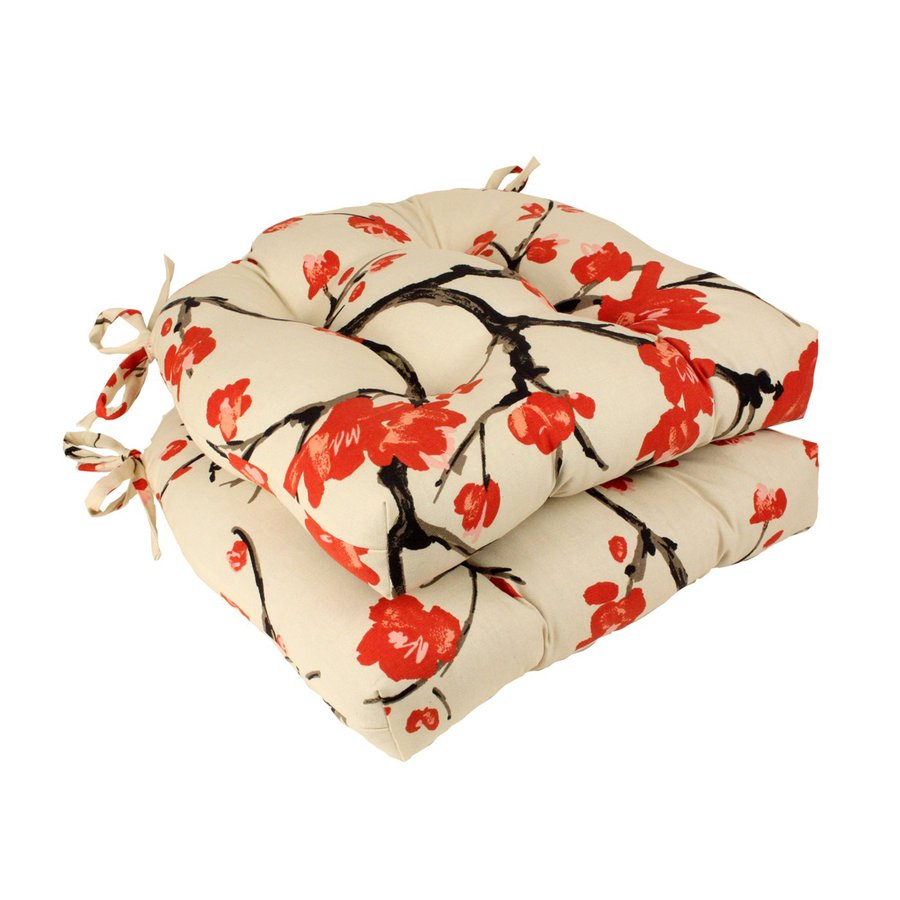 Pillow Perfect Flowering Branch Beige Red Floral Seat Pad For Universal