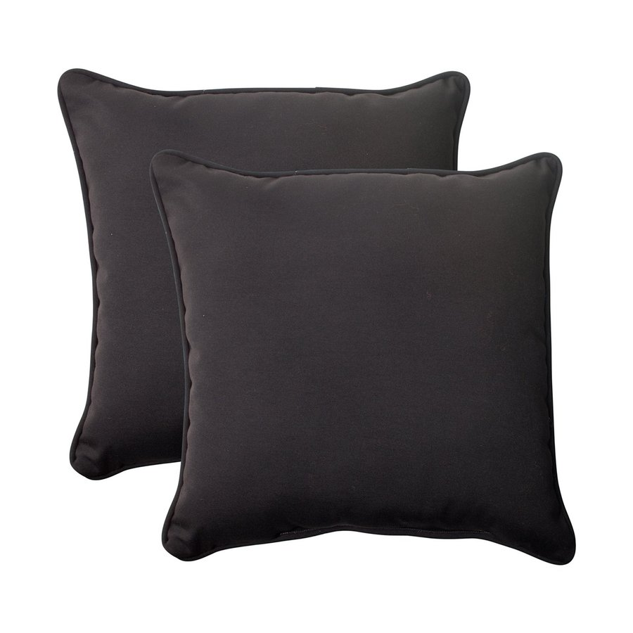 Pillow Perfect Fresco 2-Pack Black Solid Square Outdoor Decorative Pillow