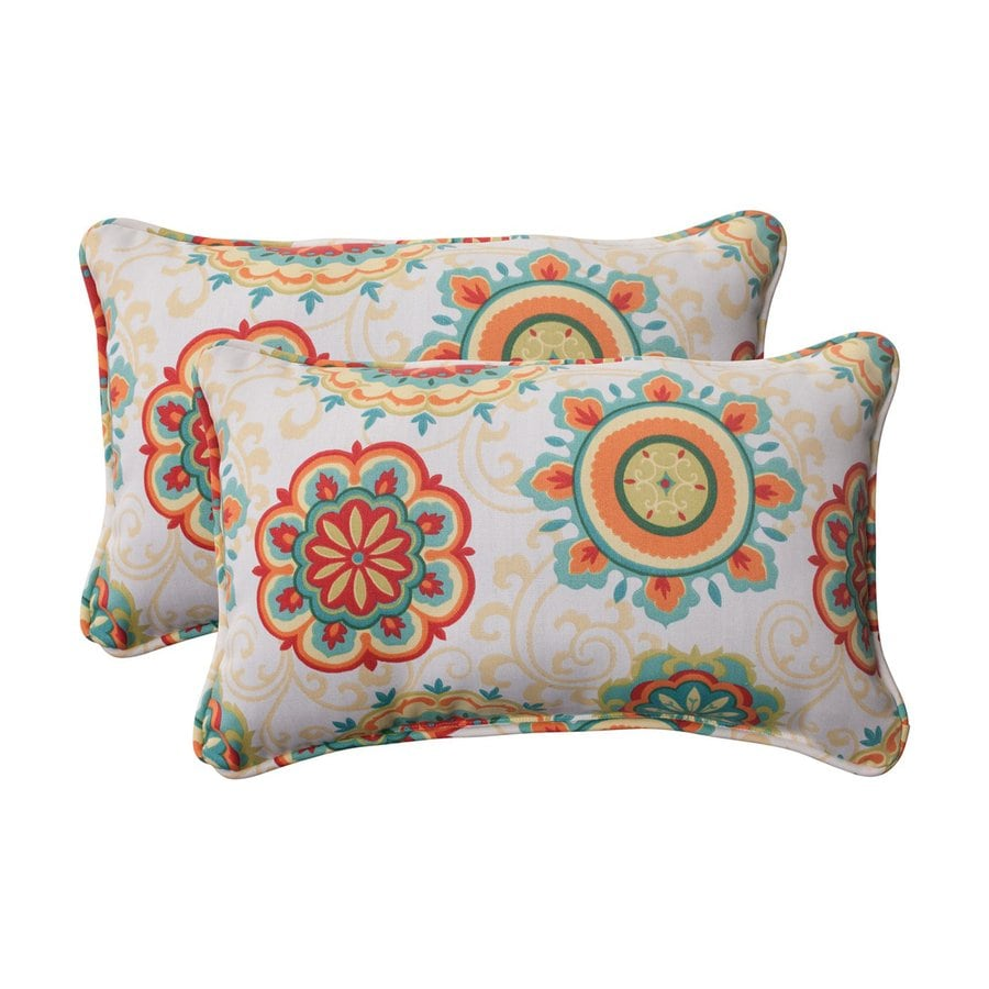Shop Pillow Perfect Fairington 2-Pack Multicolor Rectangular Outdoor Decorative Pillow at Lowes.com