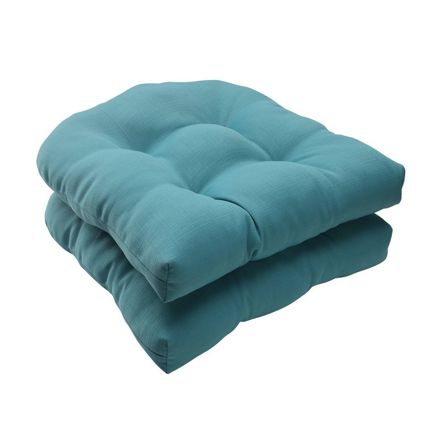 Shop Pillow Perfect Forsyth Turquoise Solid Seat Pad For