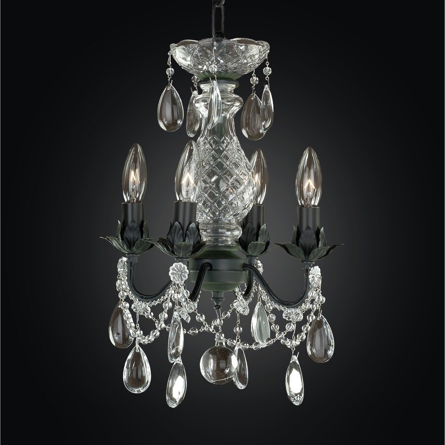Glow Lighting Beaded Fantasy 10-in 4-Light Midnight Iron Crystal Clear Glass Candle Chandelier