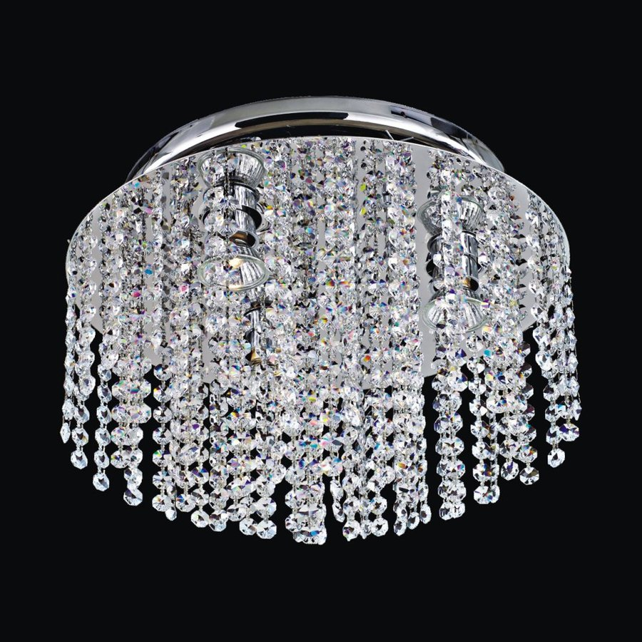 Glow Lighting Crystal-Style Rain 11.5-in W Silver Pearl Crystal-Style Semi-Flush Mount Light
