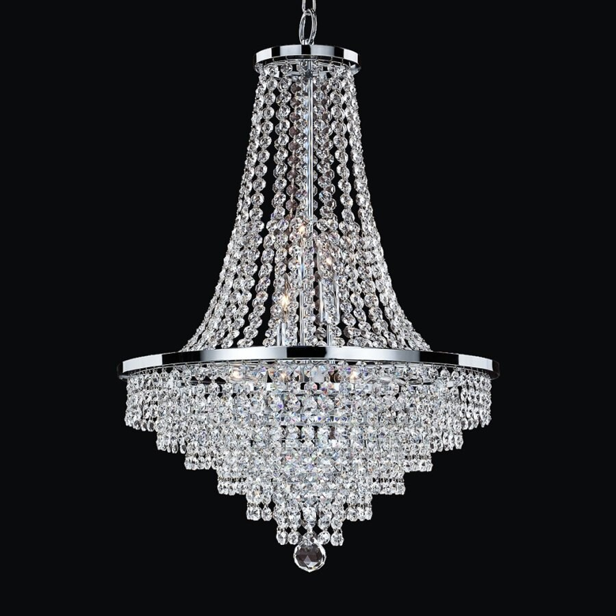 Glow Lighting Vista 19-in 9-Light Silver Pearl Crystal Clear Glass Empire Chandelier