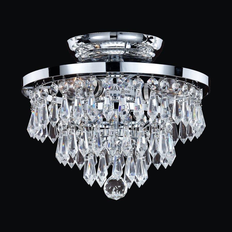 Glow Lighting Vista 10-in W Silver Pearl Crystal-Style Semi-Flush Mount Light