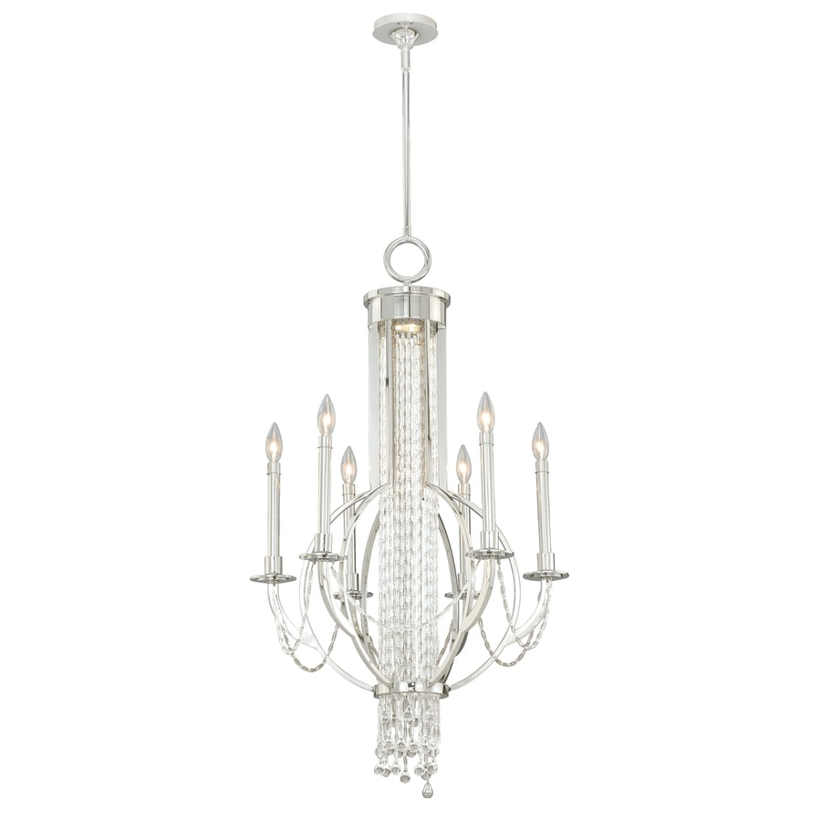 Cascadia Cascata 23.25-in 6-Light Polished Nickel Candle Chandelier